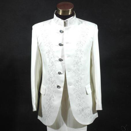 New mens stage performance suit Chinese embroidered Mock Neck Dress Chinese mountain host middle age suit