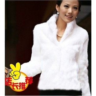 2014 new Korea SZ winter Leather grass rabbit fur shorts fashion collar long sleeved short coat