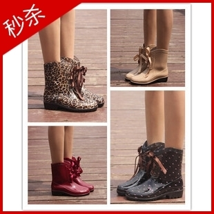 Global exports of six color shoes for women rain boots ladies fashion boots water shoes sweet bow Duantong