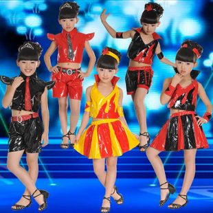 Children s New Year s medium and small batch published costumes dance skirt clothing boys and girls patent leather suit jazz hip hop