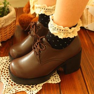 学院 风森女复古英伦风圆头系带黑色棕色高粗跟单皮鞋女制服鞋