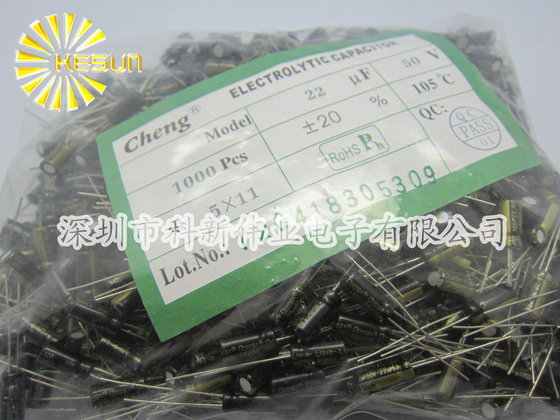 Завод прямой подлинной Chengx для высокой частоты низкого сопротивления электролитический 22UF 50V конденсаторы 5 X 11 1 пакет