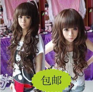 Номера для основного парик длинные вьющиеся волосы парик Лю Ци прокрутки пушистые женские милые девушки