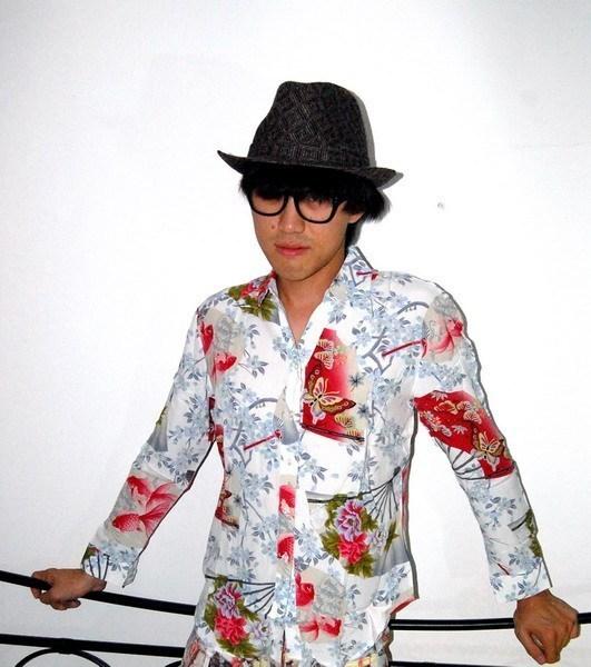 Hawaiian style Japanese butterfly fan pattern retro white Long Sleeve Shirt