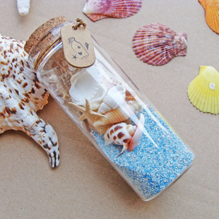 Every day special blue coral sand Wishing drift bottles glass bottles containing blue starfish coral shell Shabei