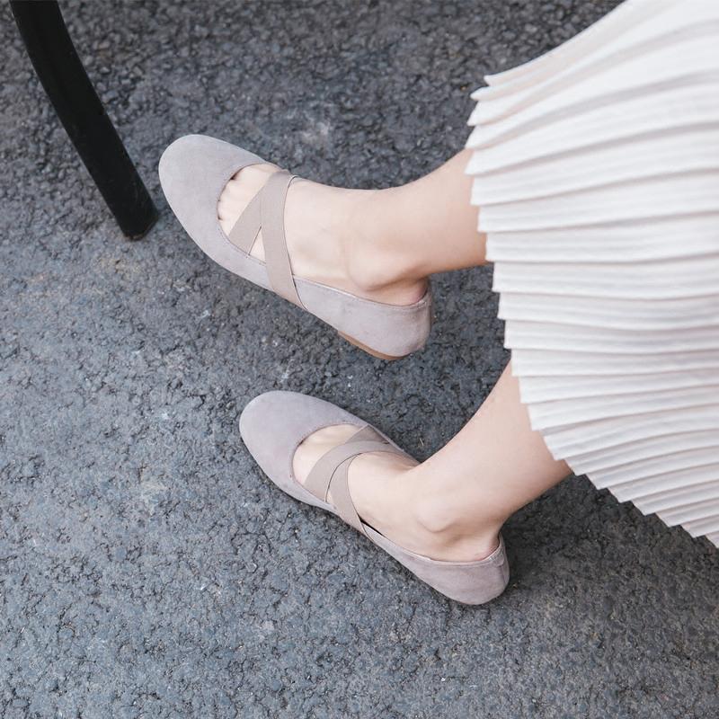 鹿与奈良芭蕾舞女鞋真皮显瘦甜美学院风奶奶鞋温婉文艺平底单鞋满168.00元可用1元优惠券