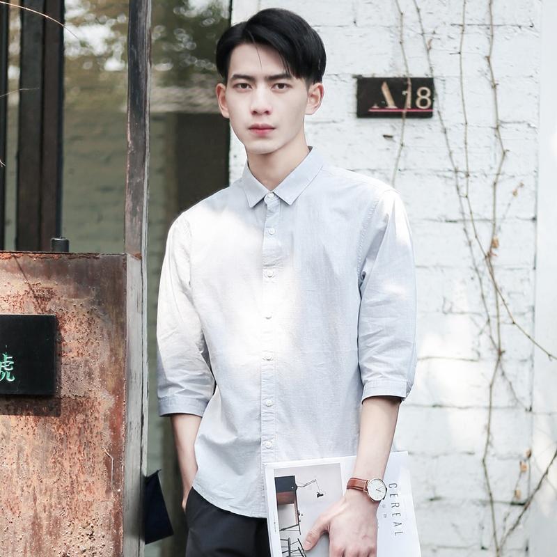 夏季薄款日系小清新休闲纯棉七分袖衬衫男青少年修身文艺短袖衬衣