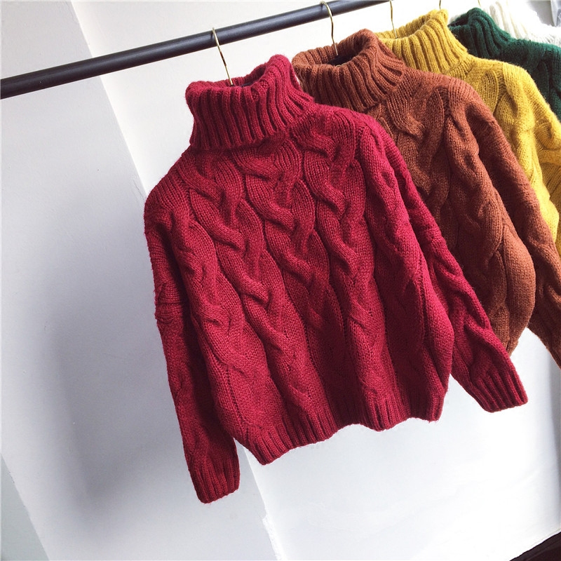 High collar sweater womens Pullover thickened winter 2020 new womens clothing Korean version solid color loose short thick thread sweater
