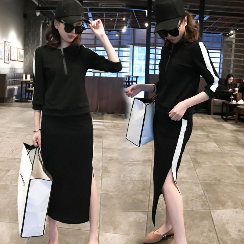 Осень установите женщина летний костюм мода прилив 2017 новый два рукава трещина юбка темперамент небольшой ароматный европейские станции женщины