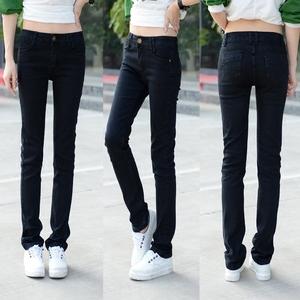 【天天特价】春秋新品直筒牛仔裤女大码韩版显瘦黑色女长裤