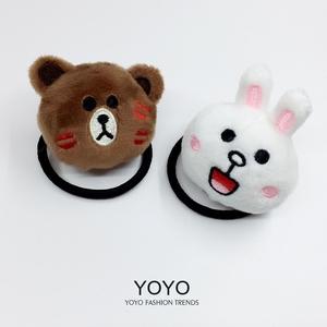 韩国可妮兔头绳可爱头绳布朗熊发圈发绳 line发箍头箍发卡皮筋