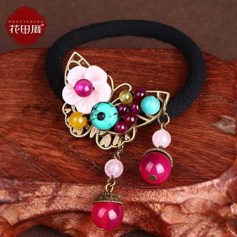 Древний классический Волосы кольца агат бисер аксессуары для волос розовый стиль
