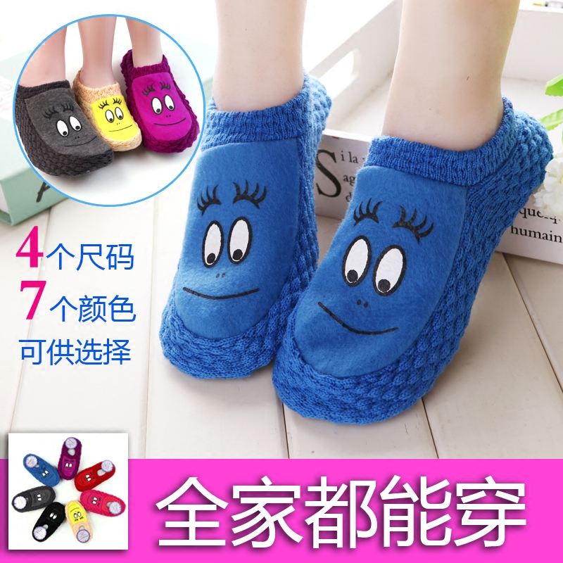 居家新款男女毛线鞋袜防滑宝宝地板袜成人儿童亲子袜套袜子秋冬厚图片