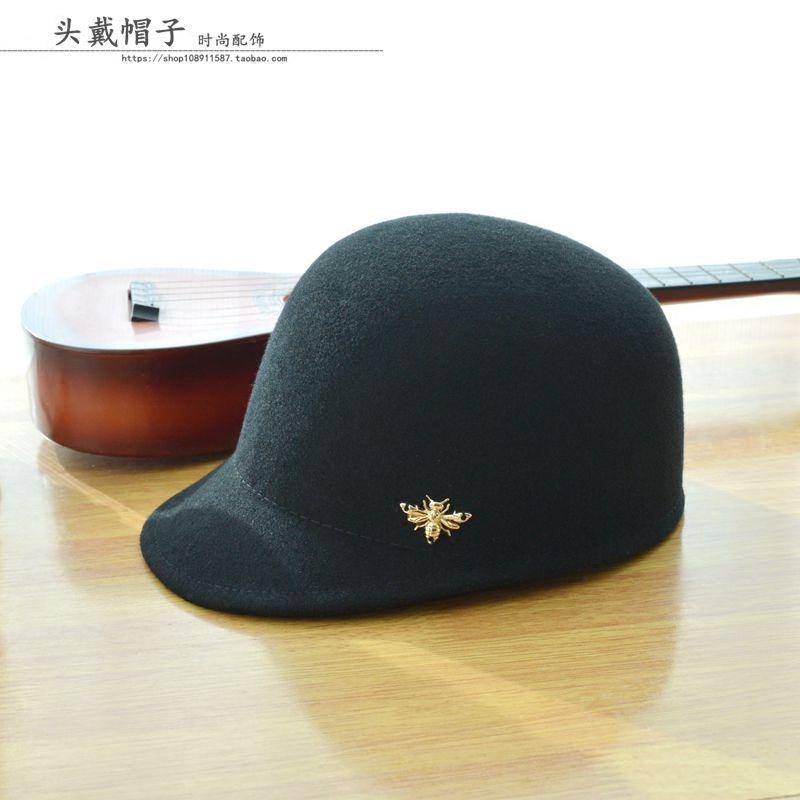 Autumn and winter new woolen womens Riding Hat bee Baseball Hat Womens Riding Hat woolen hat cap