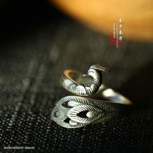 南方南方纯银泰国老银匠手工泰银复古女款开口戒指指环尾戒 孔雀
