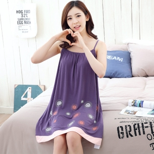 Cheap summer sleeveless strap nightgown female Korean loose modal short-sleeved cotton pajamas women sexy tracksuit