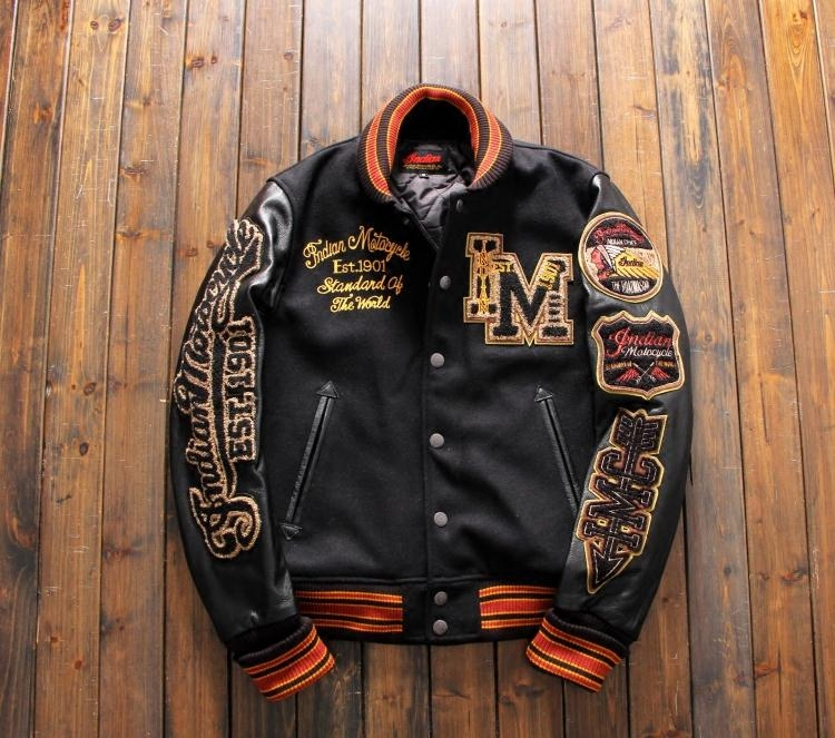 Stock up early! A piece of embroidered cowhide sleeve motorcycle jacket for mens Baseball Jacket Indian Retro