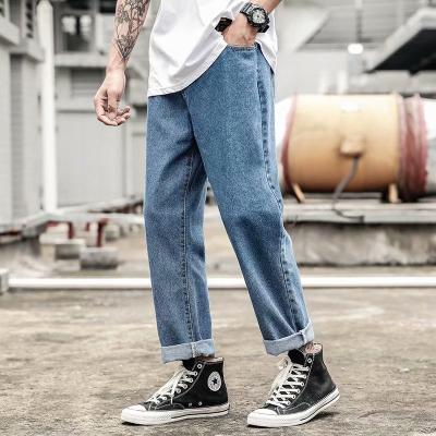 Cocalkw mens straight tube jeans summer casual light color Youth Day Vintage loose cropped pants trend brand