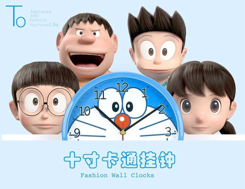 儿童房哆啦A梦钟表简约个性创意卡通可爱叮当静音卧室机器猫挂钟 Изображение 1