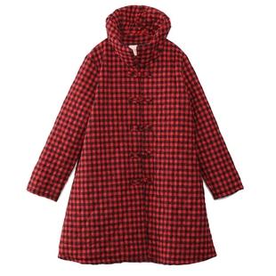 棉麻格子棉衣女中長款2018冬季新款大碼寬鬆復古文藝立領棉襖外套
