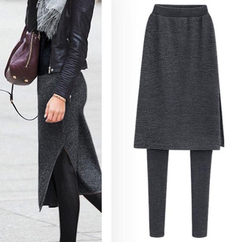 秋冬季外穿假两件打底裤女加绒显瘦中长款开叉包臀裙裤大码长裤子