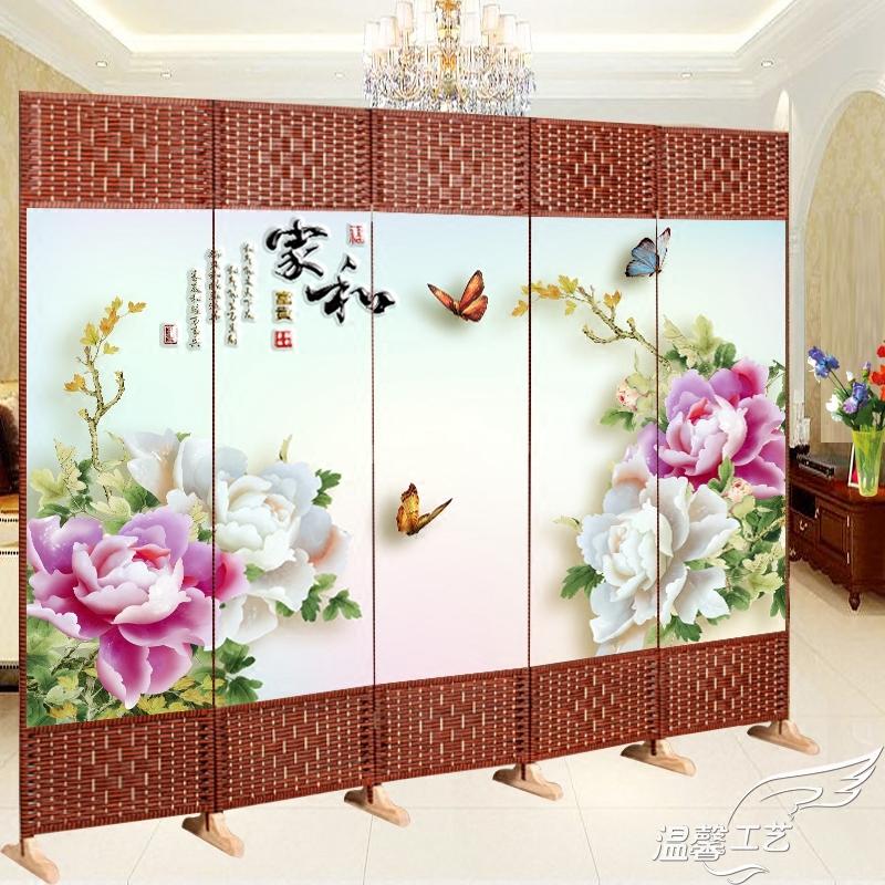 折叠屏风隔断墙卧室客厅家用装饰可移动实木推拉防水双面布艺门厅