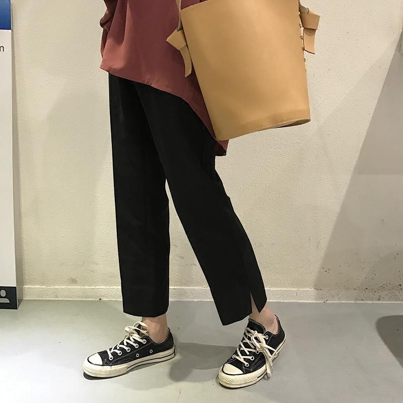 Черный 77 рекомендация в моделье простой дикий классика талия тонкий брюки боковой щель прямо девять очков брюки женщина
