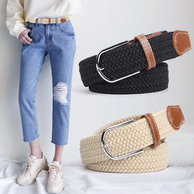 Canvas belt for women wide and simple casual pin buckle belt for men and women