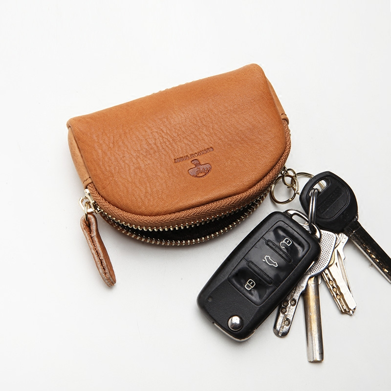 C&F真皮零钱包牛皮拉链短款小钱包硬币包小卡包男女汽车钥匙包008