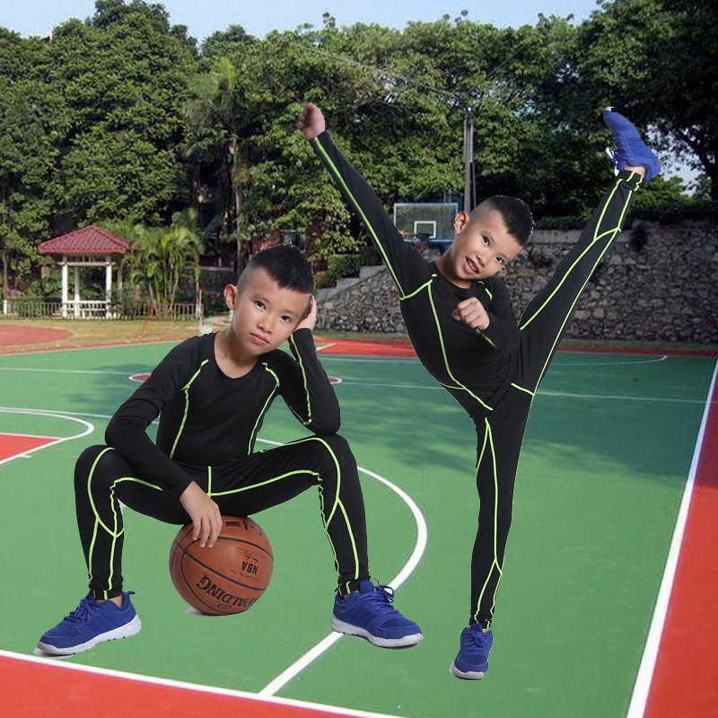 Childrens Plush sports tights match training suit fitness suit three or four piece basket soccer elastic Leggings
