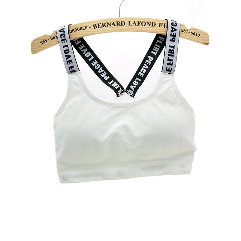 夏季字母文胸女无钢圈防震跑步运动裹胸抹胸带胸垫丫美背瑜伽内衣