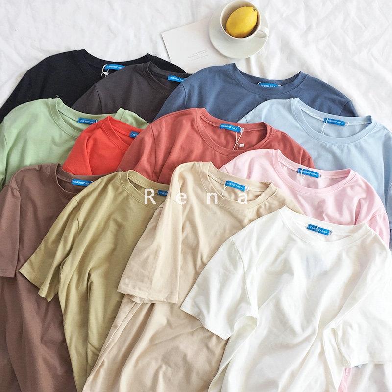RENA人手一件韩国夏季基础纯色宽松显瘦百搭圆领短袖打底衫T恤女