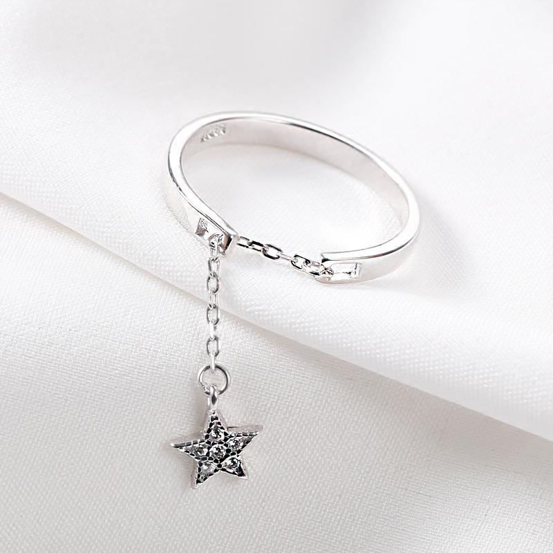 S925纯银开口可调节镶钻软链单戒星星月亮吊坠戒指女锁链伸缩潮人