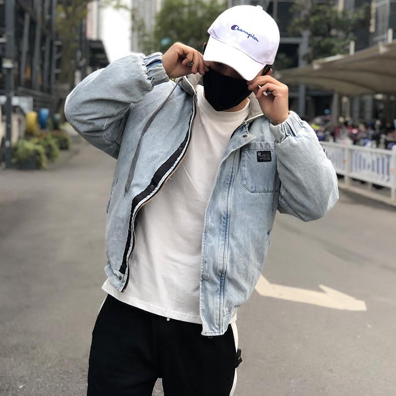 FKK winter hooded denim jacket mens 2019 new Japanese loose casual jacket Street trend jacket