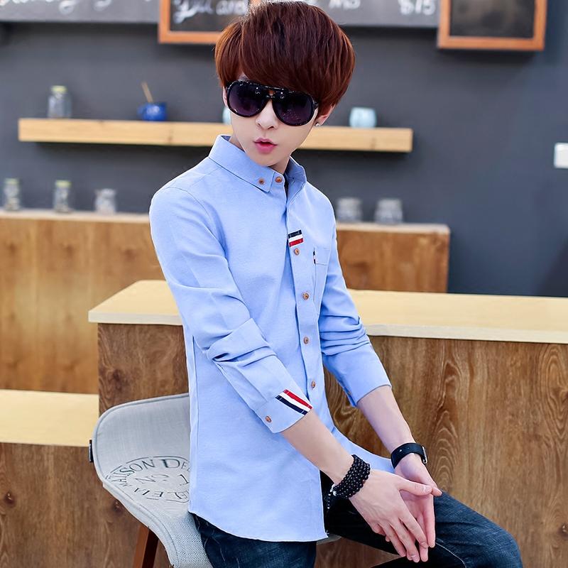春秋青少年衬衫男长袖学生休闲男士纯色衬衣修身牛津纺寸衫薄款潮