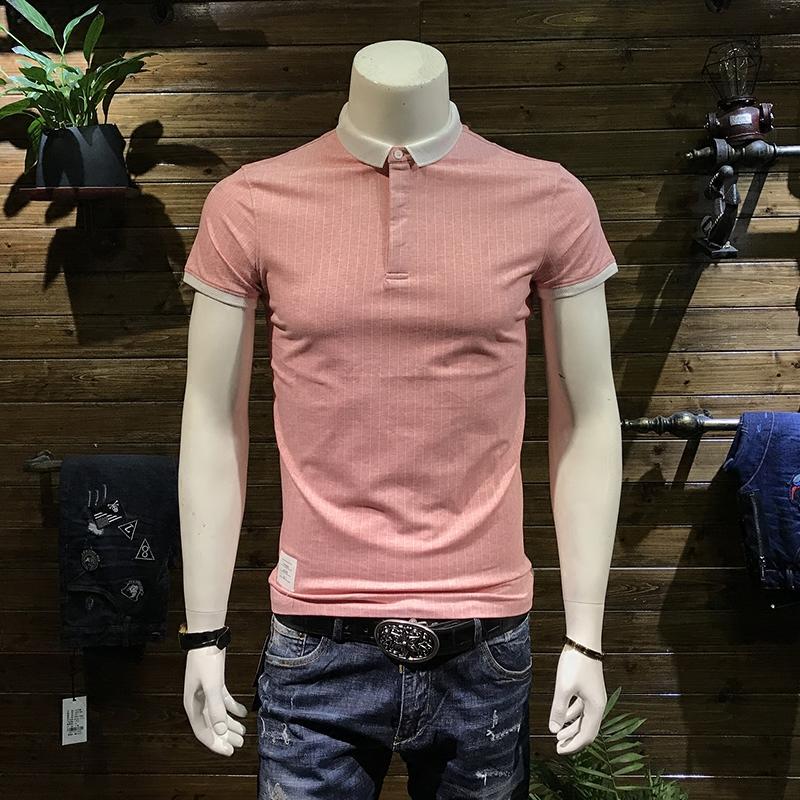 SA5M2018新款夏季男士polo衫韩版修身潮流翻领条纹保罗短袖男T恤