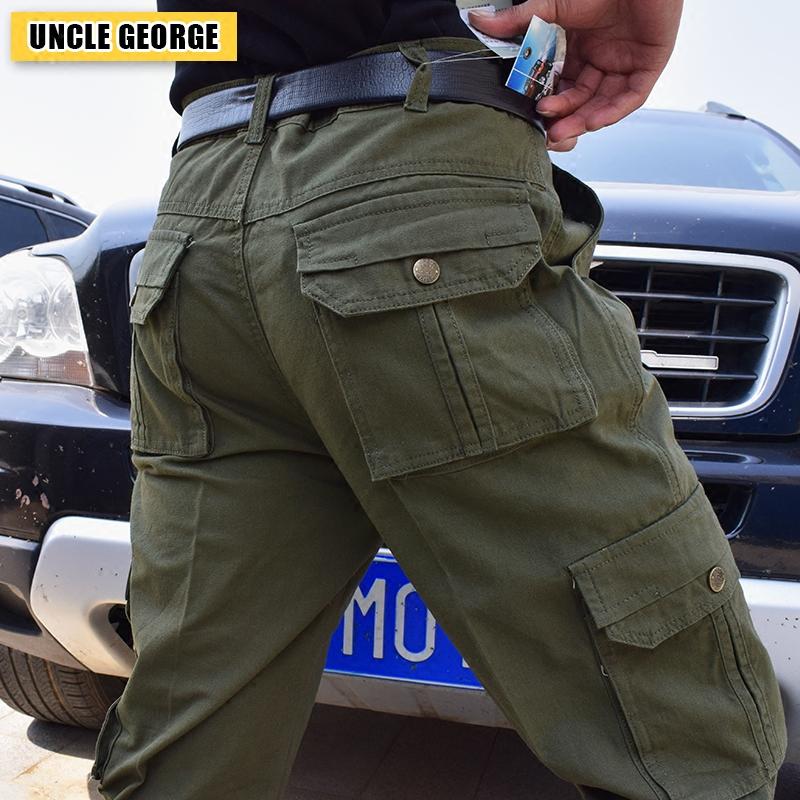 虧本福利 男士工裝褲純棉薄款多口袋休閑褲男大碼寬鬆直筒工作褲