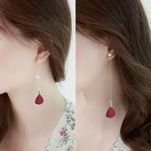百搭简约珍珠耳线长款 s925纯银耳钉女气质红色耳环韩国个性 防过敏