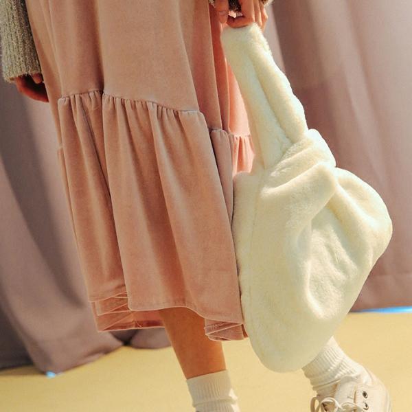2017秋冬韩版可爱手提包女士仿獭兔毛皮草包毛毛手袋纯色手拎包潮