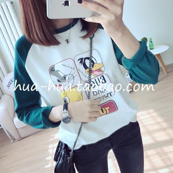 韩国订单减龄款卡通拼画磨毛加厚宽松插肩袖长袖T恤女款打底衫M
