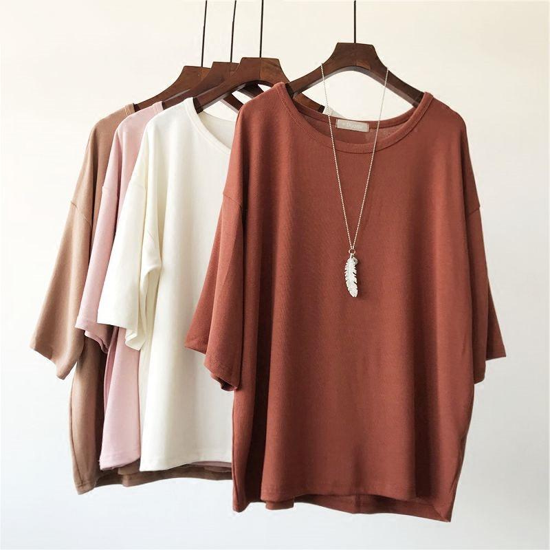 七分袖大版针织T 宽松大码 圆领纯色针织衫 女 夏季空调衫 包邮
