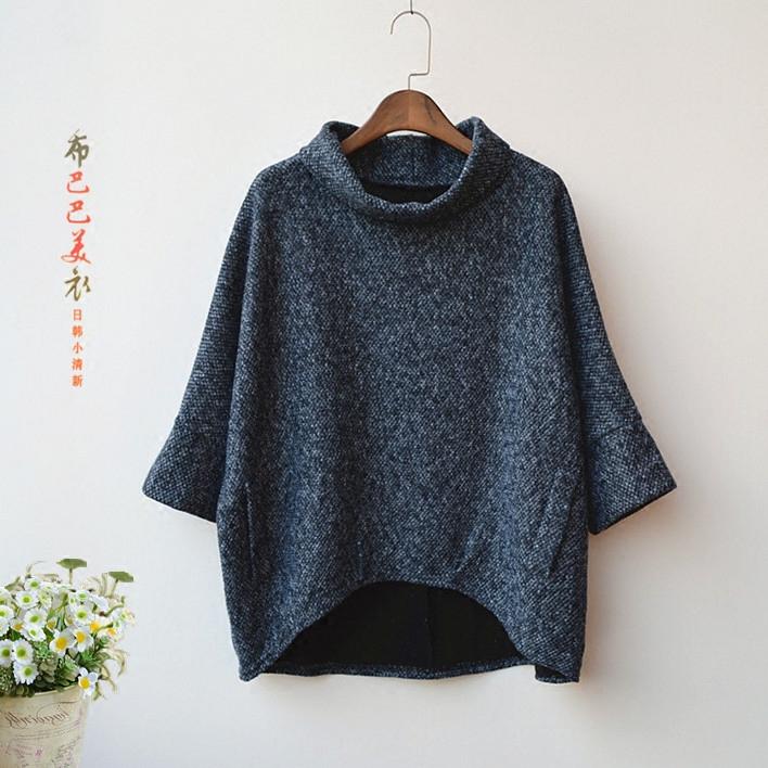 2018春季新款女装韩版七分袖半高领套头斗篷宽松大码蝙蝠衫外套女