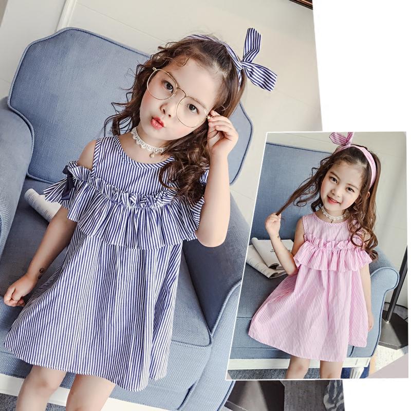 Девочки плечо платье 2017 лето модель новые товары ребятишки корейский ребенок полоса юбка платье принцессы сын платья юбка