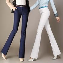 2021春夏季新品高腰微喇叭女白色长裤弹力显瘦大码直筒休闲西装裤