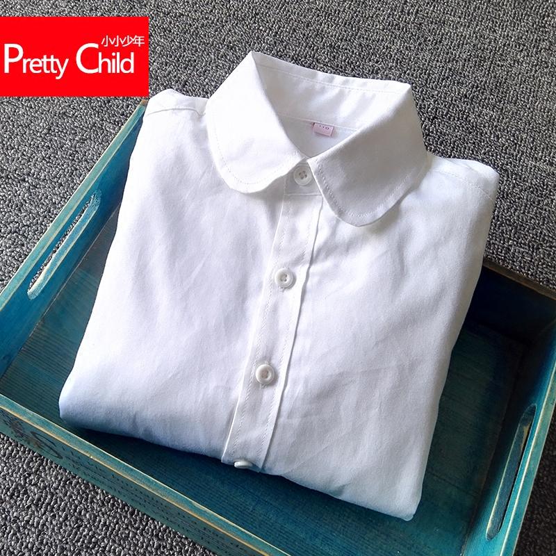 儿童白衬衫女童长袖纯棉白色表演服