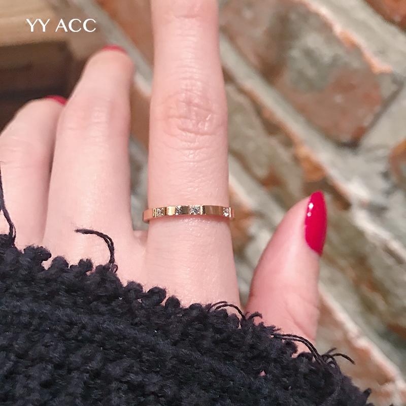 冷淡风简约极简网红18k玫瑰金钛钢极细水钻锆石chic戒指女不掉色