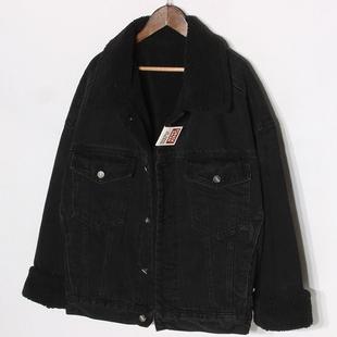 冬季韓版黑色加絨牛仔外套女寬鬆BF學生加厚羊羔毛短外套夾克棉衣