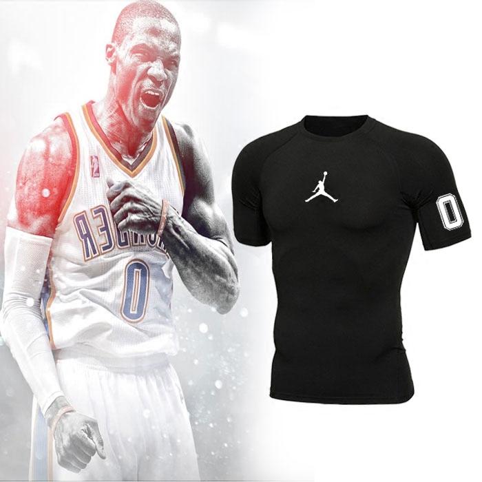 篮球运动短袖男威少保罗训练紧身衣弹力跑步速干健身打底T恤薄款