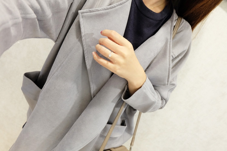 Bobo recommends autumn and winter commuter style three-dimensional line suede atmosphere Korean version of the front lapel collar mid length jacket