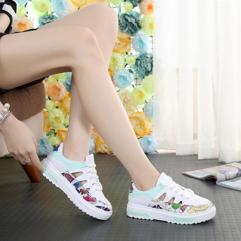 运动凉鞋女夏季2017新款百搭皮镂空系带女鞋平底学生休闲鞋子女
